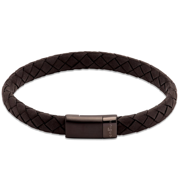 Unique & Co Black Leather Bracelet B454BL - Hamilton & Lewis Jewellery