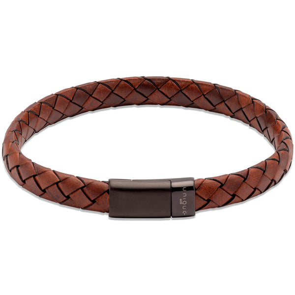 Unique & Co Lido Cognac Leather Bracelet B454LC - Hamilton & Lewis Jewellery