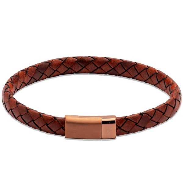 Unique & Co Lido Cognac Leather Bracelet B455LC - Hamilton & Lewis Jewellery