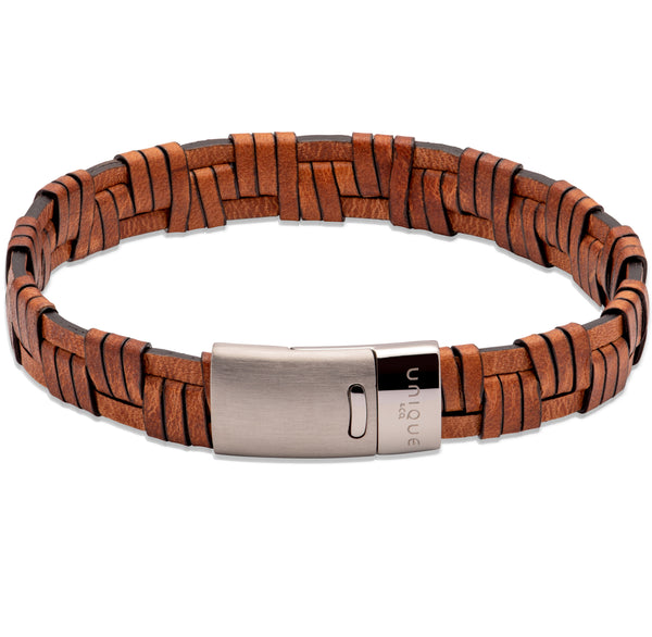 Unique & Co Lido Cognac Leather Bracelet B456LC - Hamilton & Lewis Jewellery