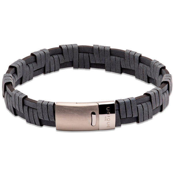 Unique & Co Navy Leather Bracelet B456NV - Hamilton & Lewis Jewellery