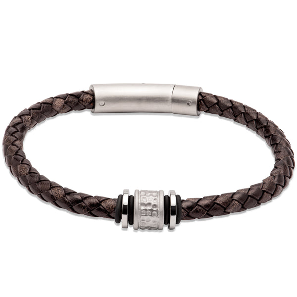 Unique & Co Antique Black Leather Bracelet B458ABL - Hamilton & Lewis Jewellery