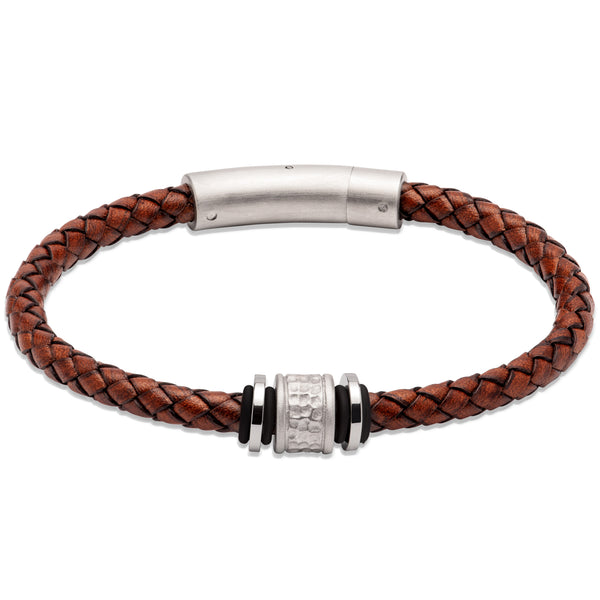 Unique & Co Antique Dark Brown Leather Bracelet B458ADB - Hamilton & Lewis Jewellery