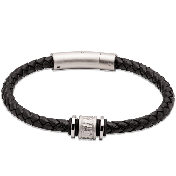 Unique & Co Black Leather Bracelet B458BL - Hamilton & Lewis Jewellery