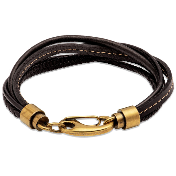 Unique & Co Black Leather Bracelet B459BL - Hamilton & Lewis Jewellery