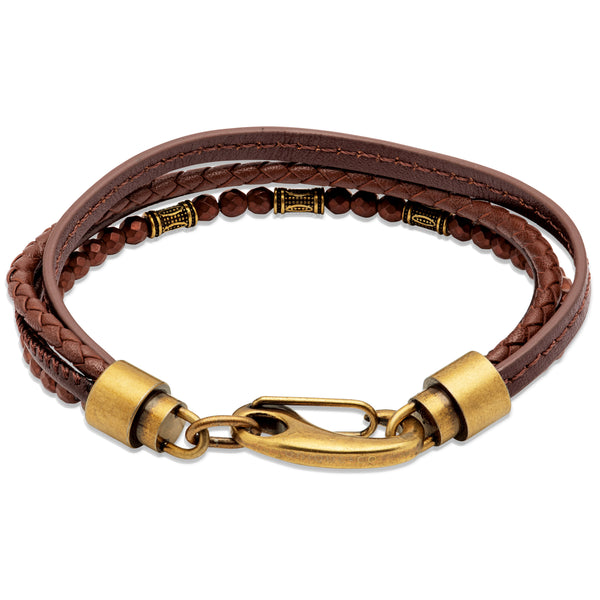 Unique & Co Dark Brown Leather Bracelet B459DB - Hamilton & Lewis Jewellery