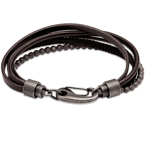 Unique & Co Black Leather Bracelet B461BL - Hamilton & Lewis Jewellery