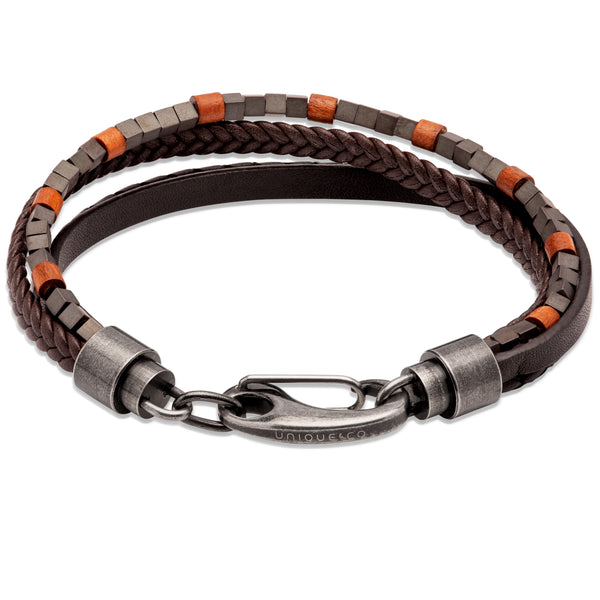 Unique & Co Black/Brown Leather Bracelet B461DB - Hamilton & Lewis Jewellery