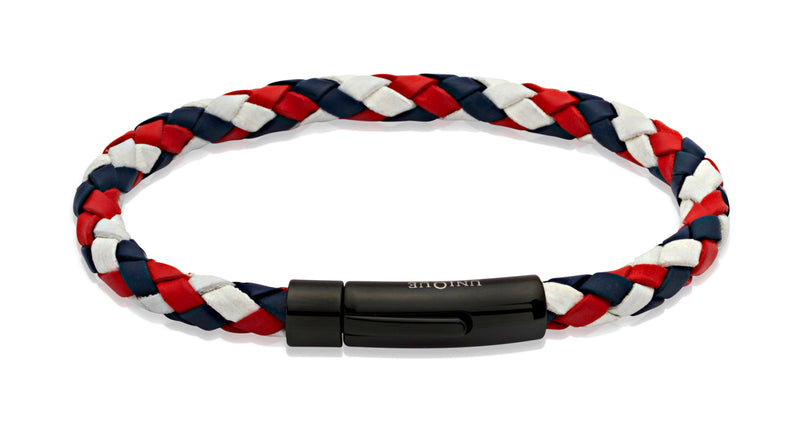 Unique & Co Red, White and Blue Leather Bracelet B61GBR - Hamilton & Lewis Jewellery