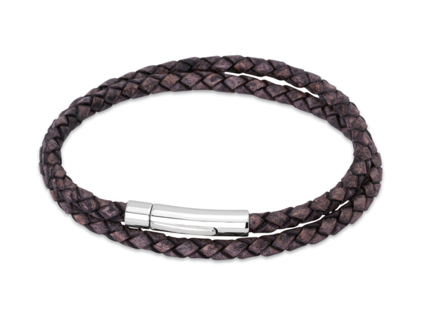 Unique & Co Antique Black Leather Bracelet B62ABL - Hamilton & Lewis Jewellery