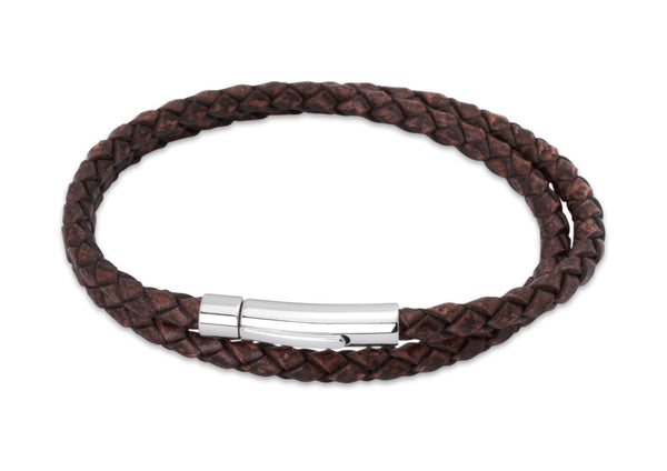 Unique & Co Antique Dark Brown Leather Bracelet B62ADB - Hamilton & Lewis Jewellery