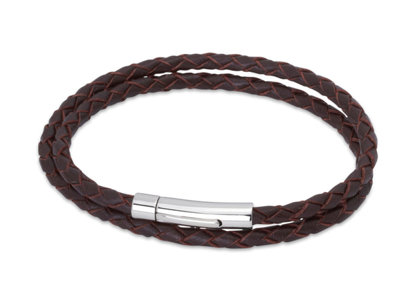 Unique & Co Dark Brown Leather Bracelet B62DB - Hamilton & Lewis Jewellery