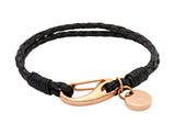 Unique & Co Ladies Black Leather Bracelet B64BL - Hamilton & Lewis Jewellery