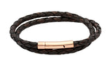Unique & Co Ladies Antique Dark Brown Leather Bracelet B66ADB - Hamilton & Lewis Jewellery