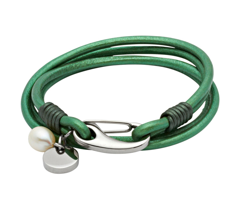 Unique & Co Ladies Lawn Green Leather Bracelet B67LA - Hamilton & Lewis Jewellery