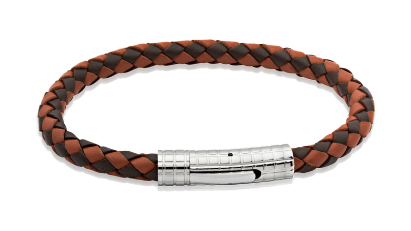 Unique & Co Dark and Light Brown Leather Bracelet B70MB - Hamilton & Lewis Jewellery