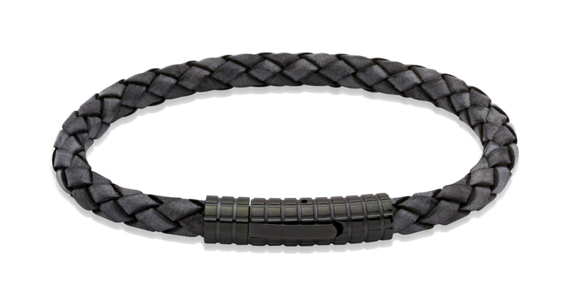 Unique & Co Antique Black Leather Bracelet B71ABL - Hamilton & Lewis Jewellery