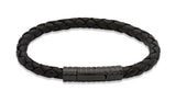 Unique & Co Black Leather Bracelet B71BL - Hamilton & Lewis Jewellery