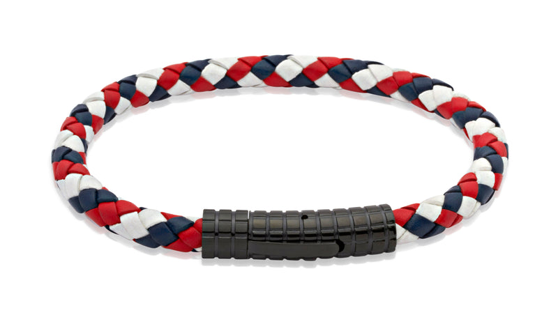Unique & Co Red, White and Blue Leather Bracelet B71GBR - Hamilton & Lewis Jewellery