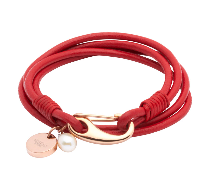 Unique & Co Ladies Red Leather Bracelet B76RED - Hamilton & Lewis Jewellery