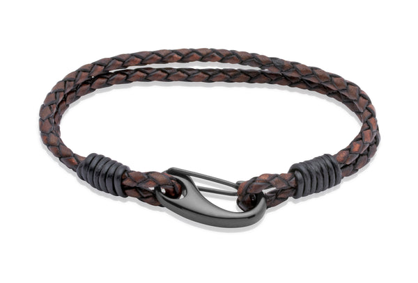 Unique & Co Antique Dark Brown Leather Bracelet B86ADB - Hamilton & Lewis Jewellery
