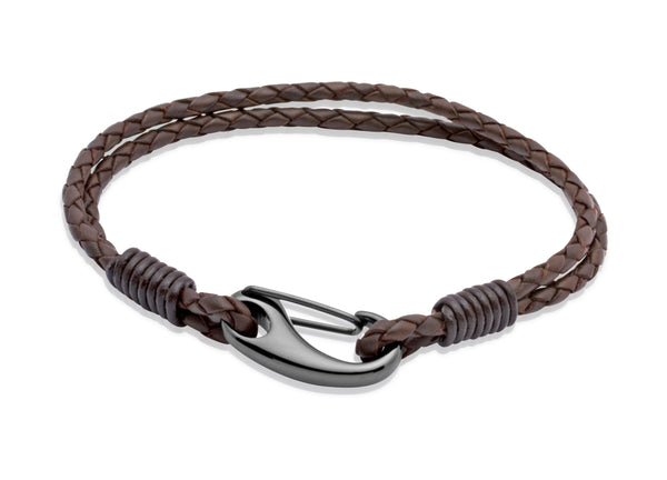 Unique & Co Dark Brown Leather Bracelet B86DB - Hamilton & Lewis Jewellery