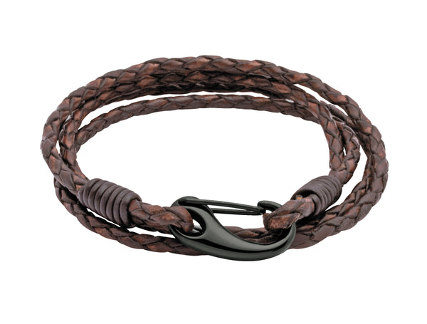 Unique & Co Antique Dark Brown Leather Bracelet B87ADB - Hamilton & Lewis Jewellery