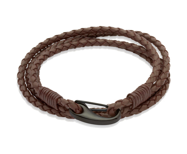 Unique & Co Dark Brown Leather Bracelet B87DB - Hamilton & Lewis Jewellery