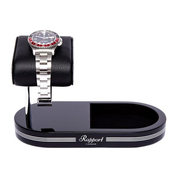 Rapport Black Silver Formula Watch Stand with Tray WS20 - Hamilton & Lewis Jewellery