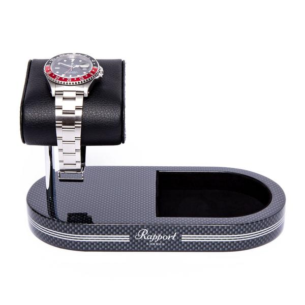 Rapport Carbon Fibre Formula Watch Stand with Tray WS21 - Hamilton & Lewis Jewellery