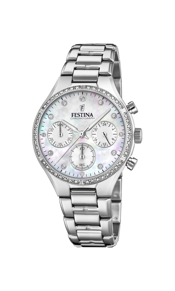 Festina Ladies Watch With Zircons And Mother of Pearl F20401/1 - Hamilton & Lewis Jewellery