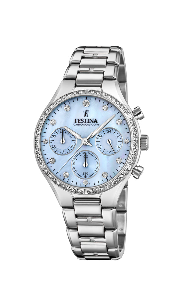 Festina Ladies Watch With Zircons And Mother of Pearl F20401/2 - Hamilton & Lewis Jewellery