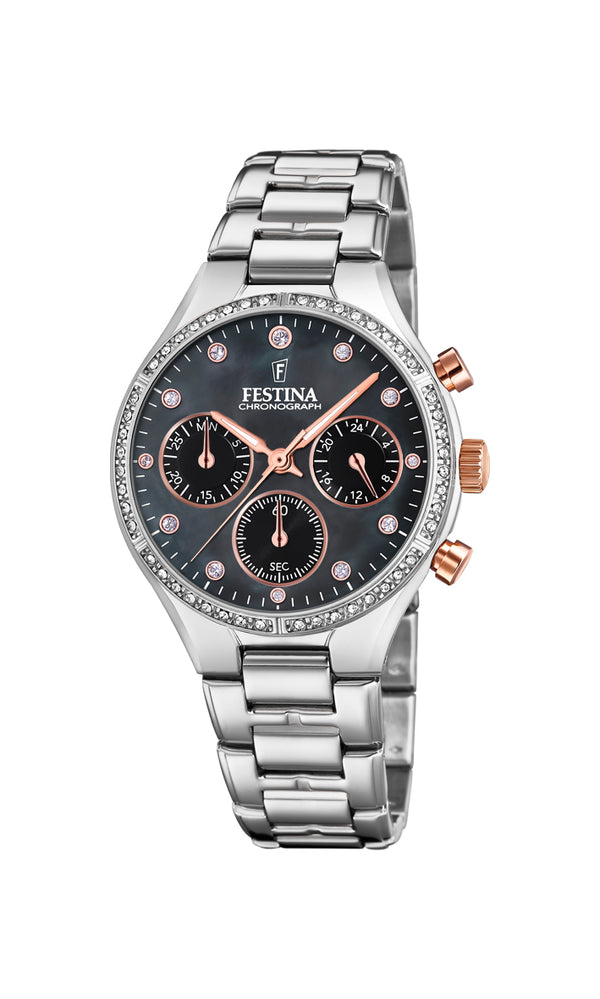 Festina Ladies Watch With Zircons And Mother of Pearl F20401/4 - Hamilton & Lewis Jewellery