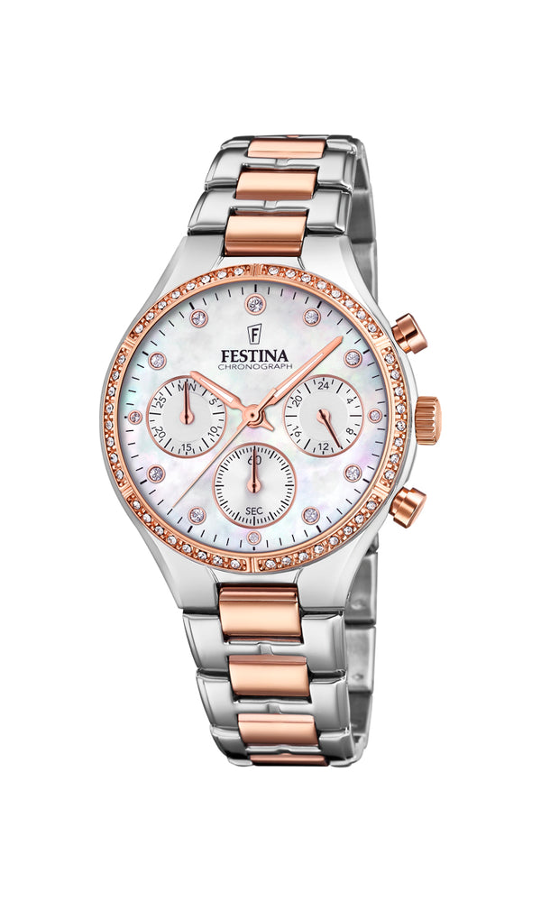 Festina Ladies Watch With Zircons And Mother of Pearl F20403/1 - Hamilton & Lewis Jewellery
