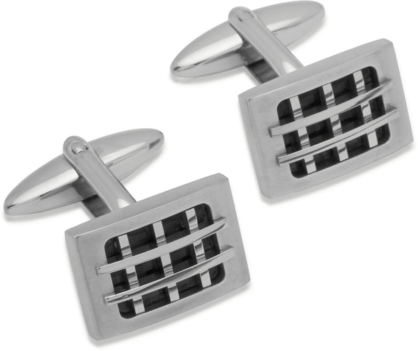 Unique & Co Steel Cufflinks QC-139 - Hamilton & Lewis Jewellery