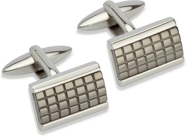 Unique & Co Steel Cufflinks QC-158 - Hamilton & Lewis Jewellery