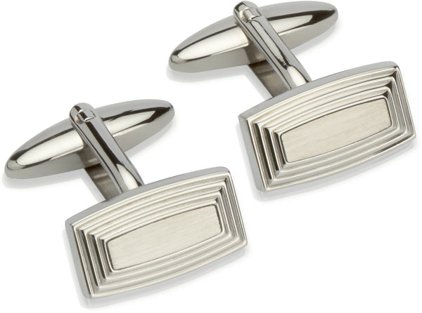 Unique & Co Steel Cufflinks QC-162 - Hamilton & Lewis Jewellery