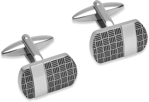 Unique & Co Steel Cufflinks QC-179 - Hamilton & Lewis Jewellery