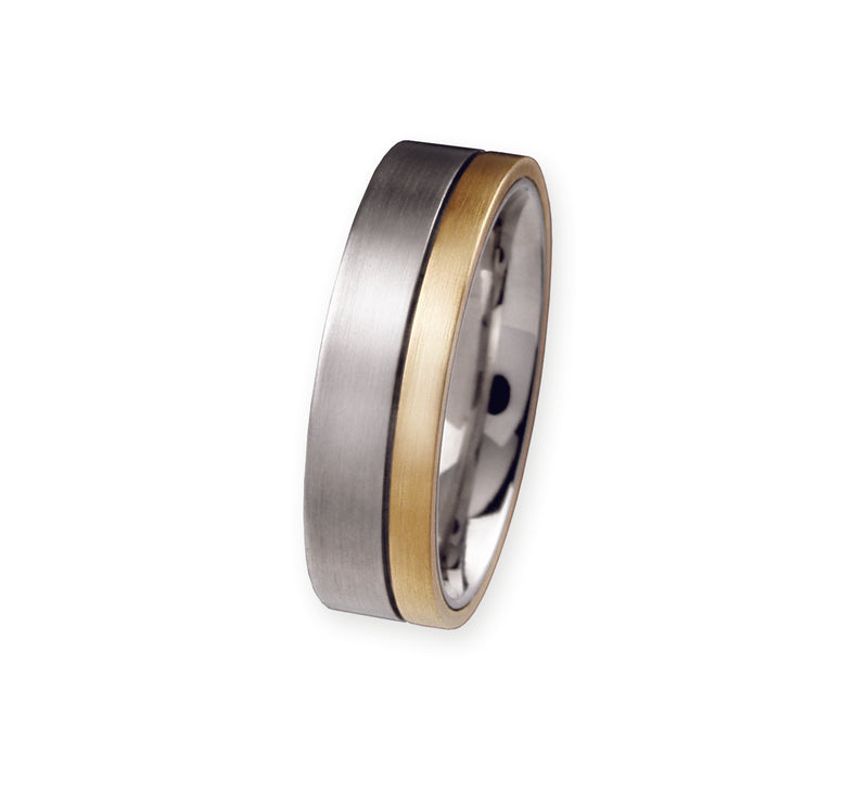Unique & Co Titanium/Gold Ring R51 - Hamilton & Lewis Jewellery