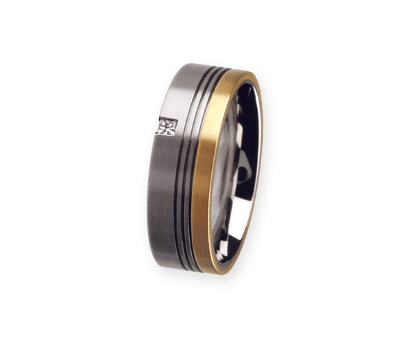 Unique & Co Titanium/Gold Ring R77