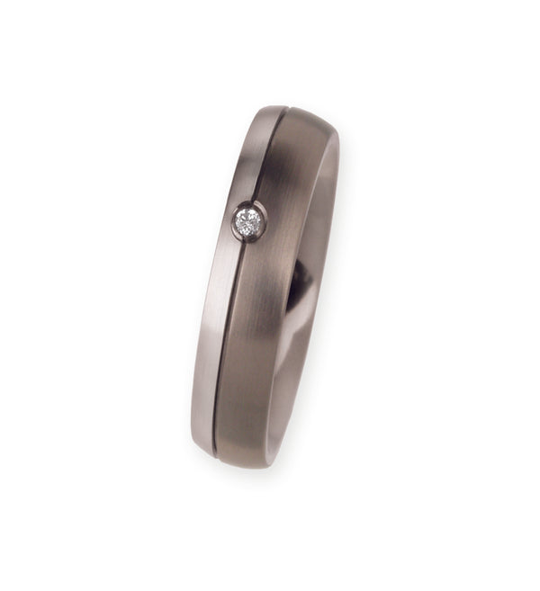 Unique & Co Titanium/Platinum Ring R112 - Hamilton & Lewis Jewellery