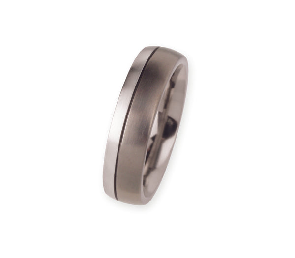 Unique & Co Titanium/Platinum Ring R87 - Hamilton & Lewis Jewellery