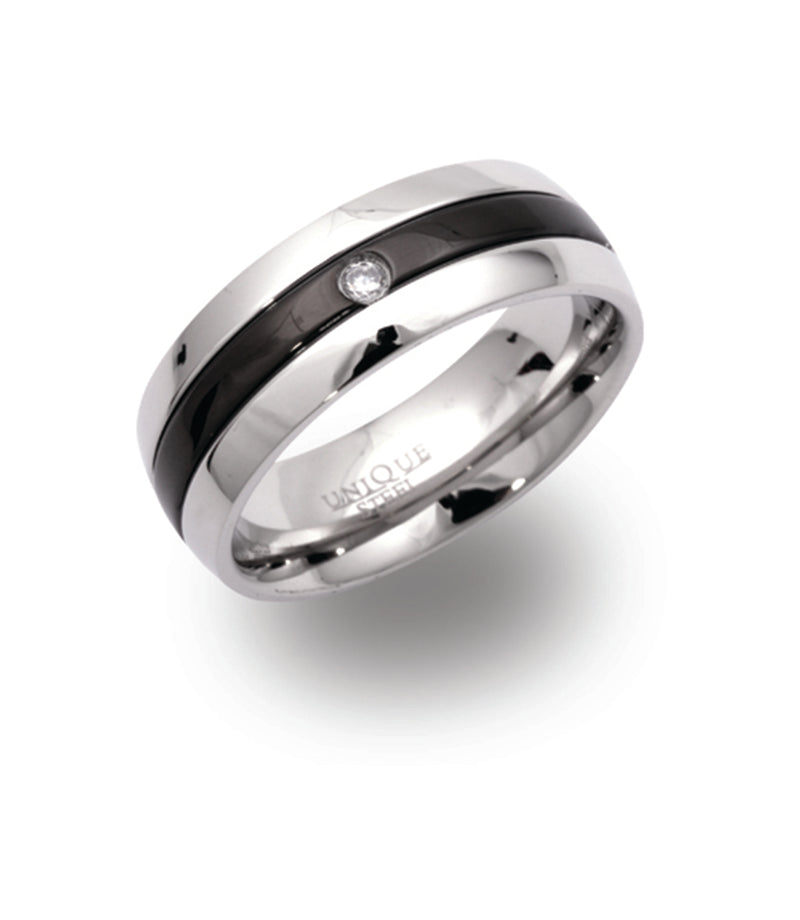 Unique & Co Steel Ring R9108CZ - Hamilton & Lewis Jewellery