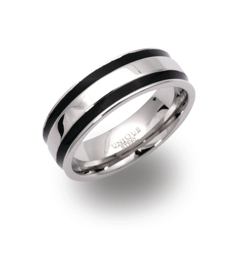 Unique & Co Steel Ring R9109 - Hamilton & Lewis Jewellery