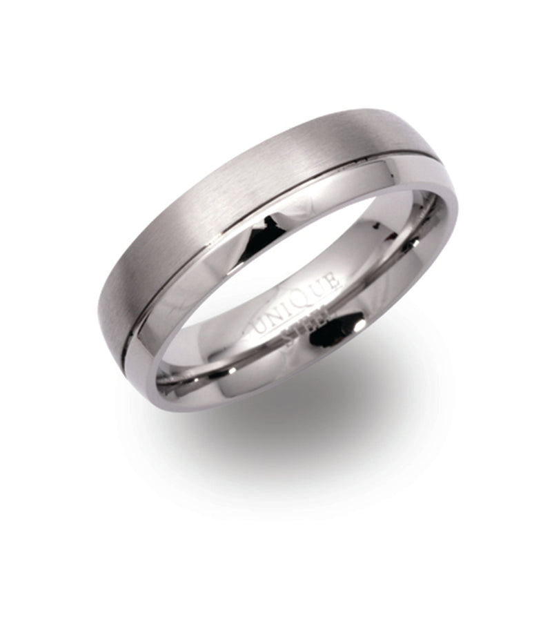 Unique & Co Steel Ring R9111 - Hamilton & Lewis Jewellery