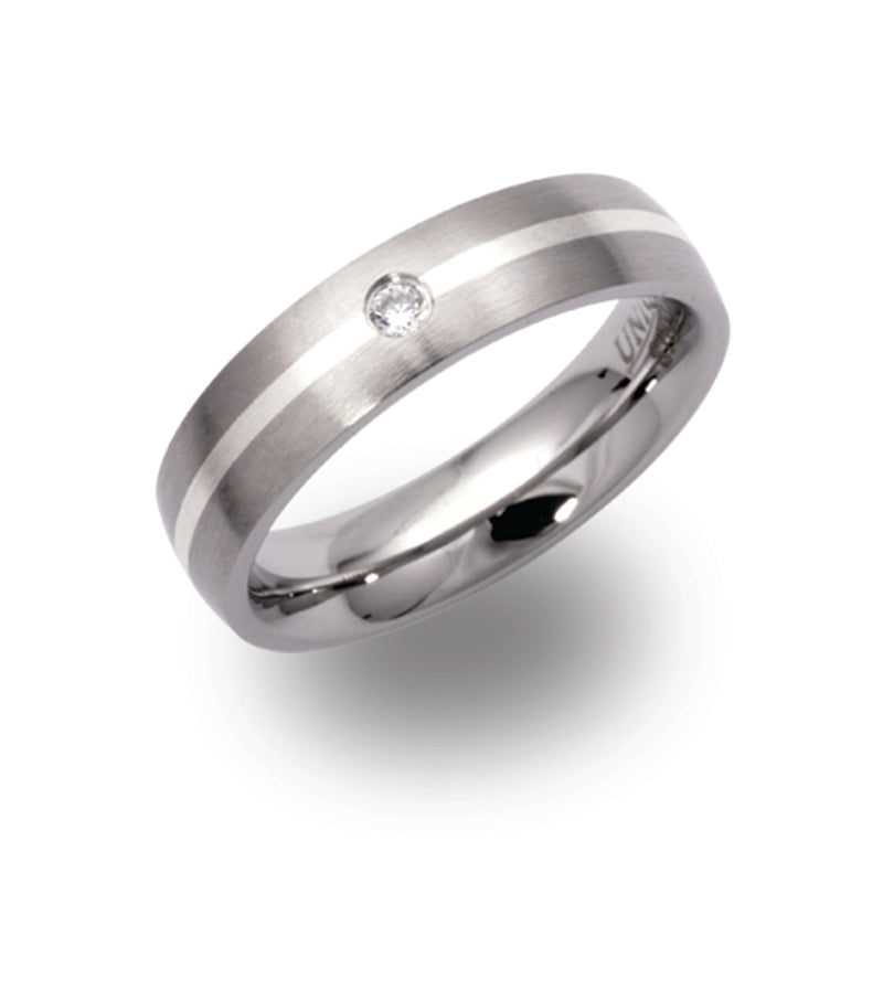 Unique & Co Steel Ring R9118CZ - Hamilton & Lewis Jewellery
