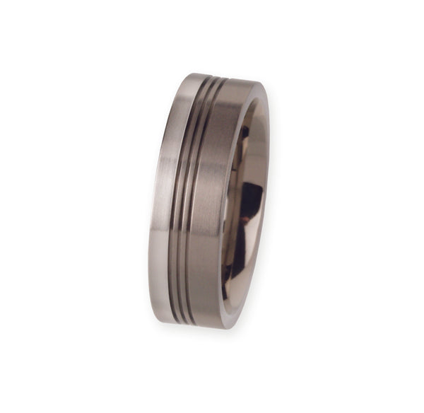 Unique & Co Titanium/Platinum Ring R93 - Hamilton & Lewis Jewellery