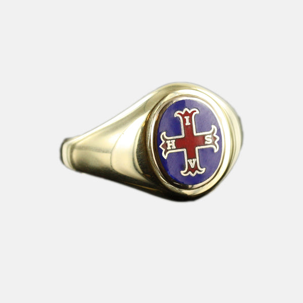 Gold Red Cross of Constantine Masonic Ring (Blue)- Fixed Head - Hamilton & Lewis Jewellery