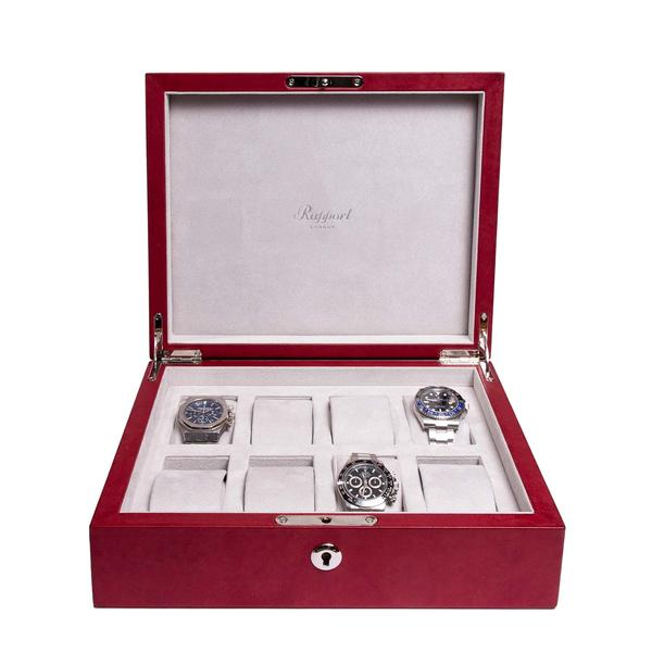 Rapport Vintage Red 8 Watch Box L431 - Hamilton & Lewis Jewellery