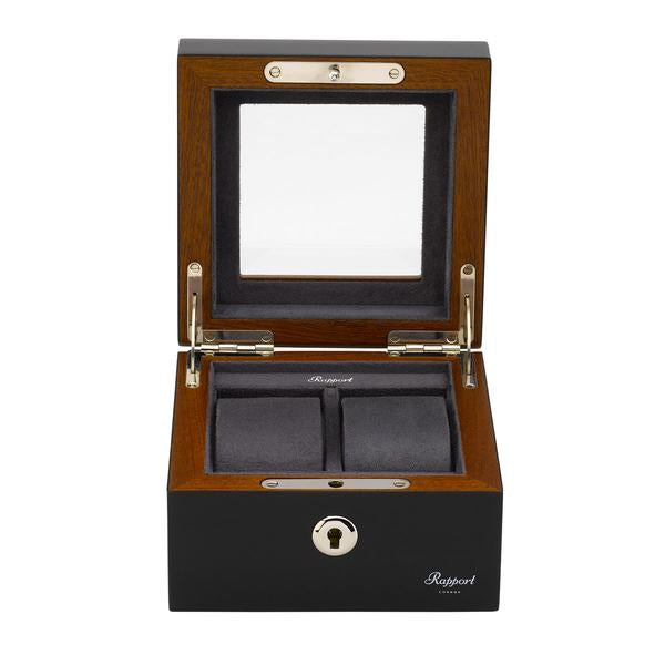 Rapport Optic 2 Piece Black Watch Box L412 - Hamilton & Lewis Jewellery